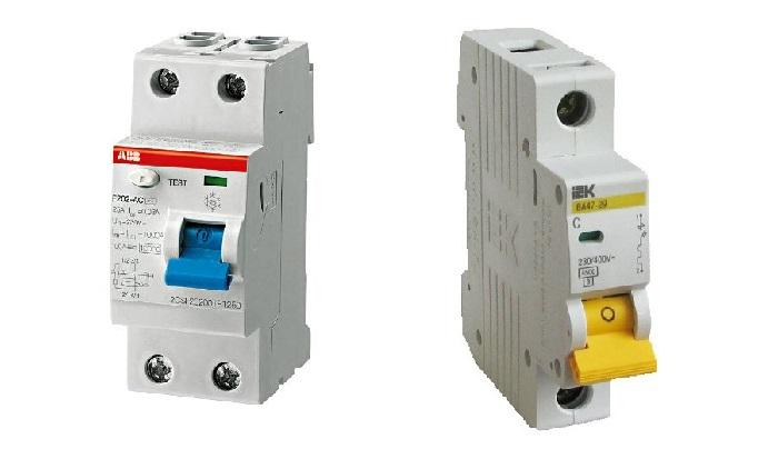УЗО и автоматический выключатель для монтажа в щит